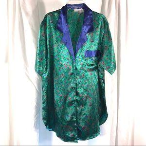 Vintage Cacique Satin Floral Sleep-shirt, size S